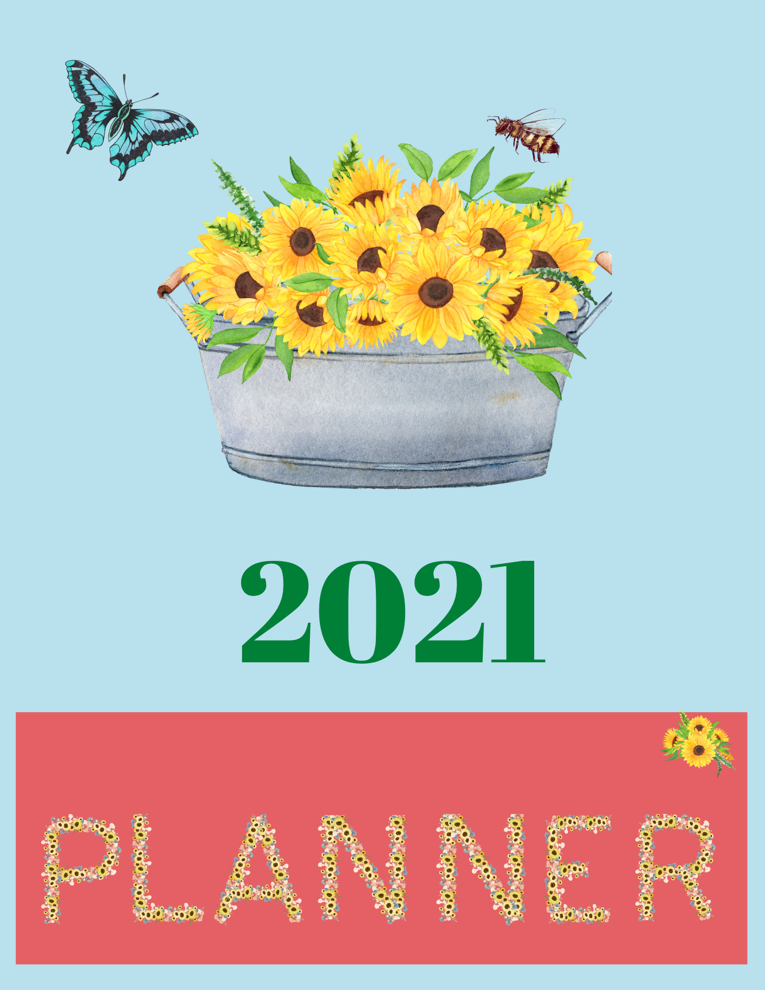 Downloadable Sunflower Planner Calendar